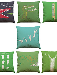 cheap -Set of 7 Spoof Rabbit Crocodile Pattern Linen  Cushion Cover Home Office Sofa Square  Pillow Case Decorative Cushion Covers Pillowcases As a Gift