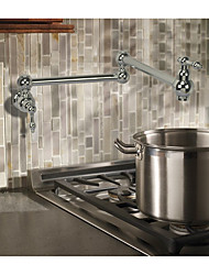 Contemporary Art Deco/Retro Modern Pot Filler Centerset Widespread Rotatable Ceramic Valve Two Handles One Hole Chrome , Kitchen faucet