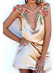 Χαμηλού Κόστους EstefaniaLaguna-Γυναικεία Φαρδιά Φόρεμα - Κέντημα Μίνι Βαθύ V