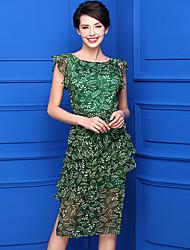 cheap -Baoyan Women's Beach Sexy Chiffon Dress,Print Round Neck Knee-length Sleeveless Polyester Summer Mid Rise Inelastic Thin