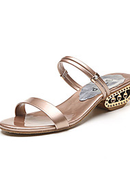 cheap -Women's Sandals Spring Summer Club Shoes Comfort Dress Casual Block Heel Multi-way All Match Fashion Champagne Sliver Black Gold