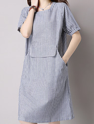 cheap -Women's Daily Going out Work Cute Casual Chinoiserie Loose Dress,Striped Round Neck Knee-length Short Sleeves Cotton Linen Summer Mid Rise