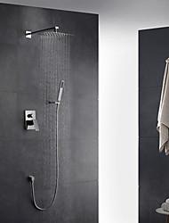 economico -Moderno Art déco/Retrò Modern Montaggio su parete Doccia a pioggia Docetta inclusa Doccetta estraibile Valvola in ottone Due Una manopola