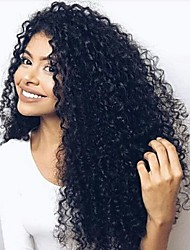 100% Human Virgin Human Hair Glueless Lace Front Kinky Curly Lace Wig  with Baby Hair
