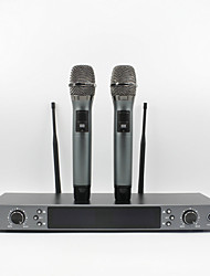 cheap -Professional Top Quality Double Handheld Wireless Microphone UHF Vocal Microfone System Band 740MHz-790MHz