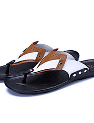 cheap -Men's Slippers & Flip-Flops Light Soles PU Spring Summer Casual Office & Career Light Soles Flat Heel Black Yellow Blue Flat