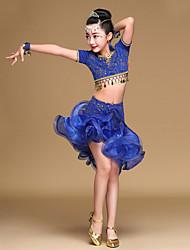 Shall We Latin Dance Outfits Kid Performance  Ruffles Top Skirt