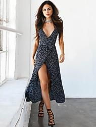 Mulheres Bainha balanço Vestido - Estampado Com Alças Cintura Alta Longo
