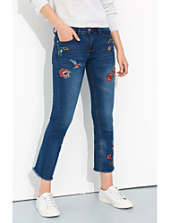 cheap -Women's Street chic Bootcut Jeans Pants - Animal Embroidered