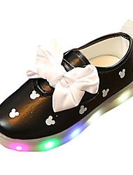 Girls' Flats Comfort PU Spring Summer Casual Comfort LED Flat Heel White Black Blushing Pink Flat