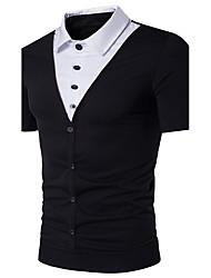 cheap -Men's Daily Beach Casual Active Summer Polo,Color Block Shirt Collar Short Sleeves Cotton Medium