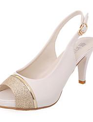 preiswerte -Damen Schuhe Glanz PU Sommer Herbst Neuheit Club-Schuhe Sandalen Stöckelabsatz Peep Toe Paillette Schnalle für Hochzeit Kleid Party &