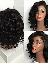 Недорогие -Натуральные волосы Бесклеевая кружевная лента Лента спереди Парик стиль Бразильские волосы Свободные волны Парик 130% Плотность волос / Природные волосы / 100% ручная работа / с детскими волосами