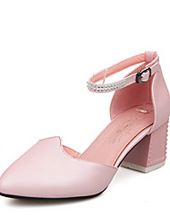 cheap -Women's Sandals Summer Winter Formal Shoes Leatherette Wedding Party & Evening Dress Chunky Heel Rhinestone Buckle Hollow-out