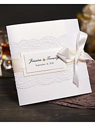 Plis Roulés Invitations de mariage Cartes d'invitation Style moderne Papier Perlé Ruban nœud papillon Dentelle
