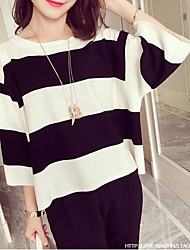 Women's Casual/Daily Simple Spring Summer T-shirt,Striped Round Neck Polyester Medium