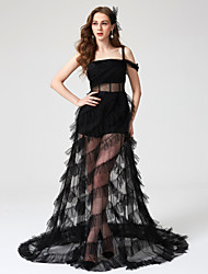 A-Line Square Neck Floor Length Tulle Formal Evening Dress with Pleats by TS Couture®