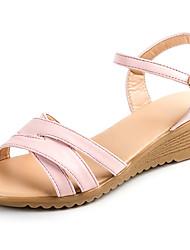 Недорогие -Для женщин Сандалии Удобная обувь Полиуретан Лето Повседневные Для прогулок Удобная обувь Пряжки Блочная пятка Белый Черный Розовый7 -