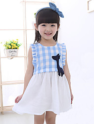 cheap -Girl's Daily Going out School Plaid Jacquard Dress,Cotton Summer Sleeveless Check Blue Red