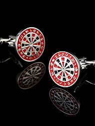 cheap -New Men's French Shirt Cufflinks Red Roulette Cuff links Target Plate Design Shirt Sleeve Buttons Man Acc Jewelry Boy's Best Gift