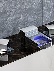 Contemporain Décoration artistique/Rétro Moderne Baignoire et douche LED Cascade with  Soupape céramique Deux poignées trois trous for