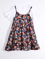 cheap -Girls' Daily Floral Clothing Set, Cotton Summer Gray