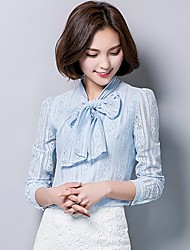 Women's Going out Casual/Daily Work Simple Vintage Cute All Seasons Summer Shirt,Solid Crew Neck Long Sleeves Rayon Thin