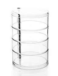 Acrylic Clear Large 4 Layer Rotatable Cylinder Makeup Cosmetics Storage Organizer Jewelry Display Box