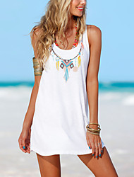 cheap -Women's Holiday / Going out / Beach Boho Sheath Dress White, Racerback / Print Mini / Spring / Summer