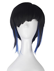 cheap -Women Adult Hero Major Hair Short Straight Natural Black with Blue Strands Hair Movie Cosplay Costume Party Wig for Party Halloween