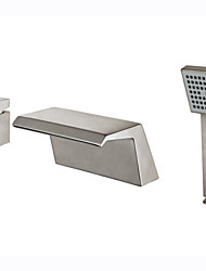 cheap -Art Deco/Retro Modern Tub And Shower Waterfall Ceramic Valve Two Handles Three Holes Nickel Brushed, Bathtub Faucet