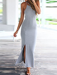 cheap -Women's Beach Vintage Casual Bodycon Sheath Dress - Solid Colored, Backless Maxi Strap