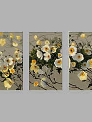 cheap -Hand-Painted Modern Rose Flower & Plants Oil Painting Three Panel Canvas Oil Painting Multi Split Oil Painting