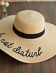 Women's Polyester Straw Straw Hat Sun Hat,Cute Casual Print Summer