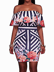 cheap -Women's Going out Sexy Bodycon Dress,Floral Boat Neck Above Knee Short Sleeves Polyester Summer Mid Rise Inelastic Medium
