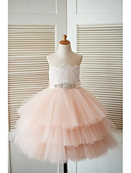 cheap -Princess Knee Length Flower Girl Dress - Lace Tulle Sleeveless Jewel Neck with Beading Buttons Sash / Ribbon by LAN TING Express
