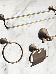 cheap -Bathroom Accessory Set Antique Brass 4pcs - Hotel bath Toilet Paper Holders / Robe Hook / tower bar