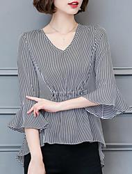 cheap -Women's Daily Casual Summer Blouse,Striped V Neck Acrylic Medium