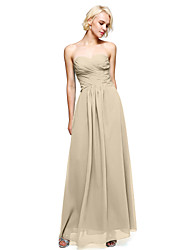 cheap -Product Sample Sheath / Column Strapless Floor Length Chiffon Bridesmaid Dress with Criss Cross by LAN TING BRIDE®