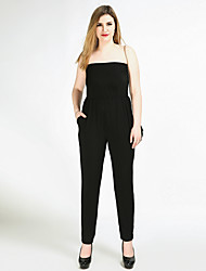 cheap -Cute Ann Women's Plus Size Work / Club / Beach Vintage Jumpsuit - Solid Colored / Polka Dot, Pure Color / Knitting Strapless