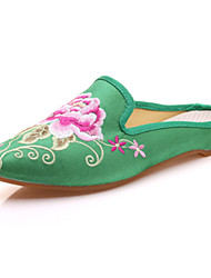 abordables -Femme Chaussures Microfibre Eté / Automne Confort / Nouveauté / A Bride Arrière Oxfords Marche Talon Plat Bout pointu Fleur Rouge / Vert