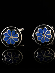 cheap -Blue Pattern Enamel Flower Cufflinks Male Business Buttons French Shirt Cuff links for Men's Jewelry Wedding Gifts For Guests