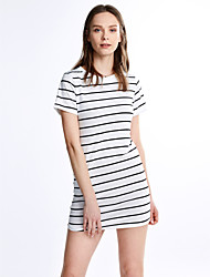 Women's Casual/Daily Simple Shift Dress,Striped Crew Neck Mini Short Sleeves Cotton All Seasons Mid Rise Micro-elastic Medium