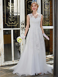 cheap -A-Line V Neck Sweep / Brush Train Lace Tulle Custom Wedding Dresses with Lace by LAN TING BRIDE®