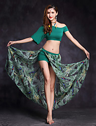 Belly Dance Outfits Women's Performance Modal Pattern/Print 2 Pieces Half Sleeve Natural Top Skirt
