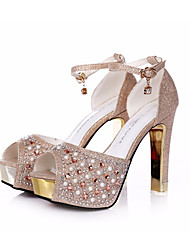 cheap -Women's Shoes PU Summer Club Shoes Heels Stiletto Heel for Casual Titanium Champagne