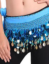 baratos -Dança do Ventre Lenços de Quadril para Dança do Ventre Mulheres Espetáculo Chiffon Lantejoulas Xale de Dança do Ventre