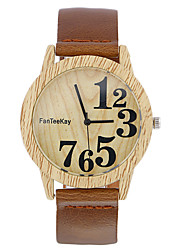 cheap -Men's Quartz Wrist Watch Chinese Wooden / Cool Leather Band Casual / Wood Black / Brown / Khaki