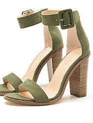 abordables -Femme Chaussures Tissu Eté club de Chaussures Sandales Talon Bottier Bout ouvert Boucle Vert / Rose dragée clair / Soirée & Evénement / Soirée & Evénement