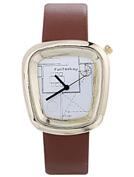 cheap -Women Luxury Brand Fashion Square Casual Quartz Unique Stylish Watches Small Female Leather Sport Clock Men